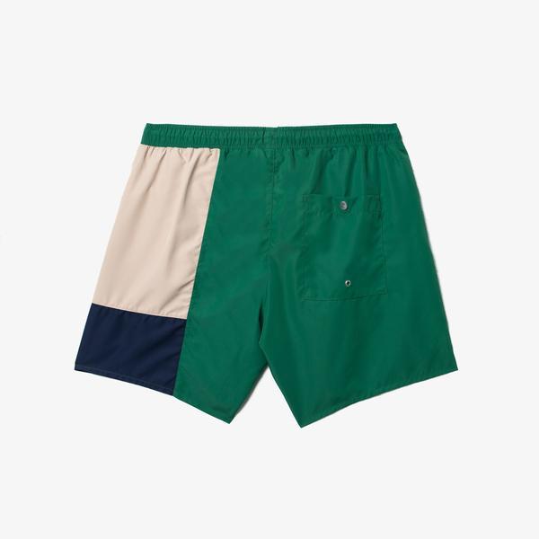 Lacoste Erkek Blok Desenli Yeşil Şort Mayo