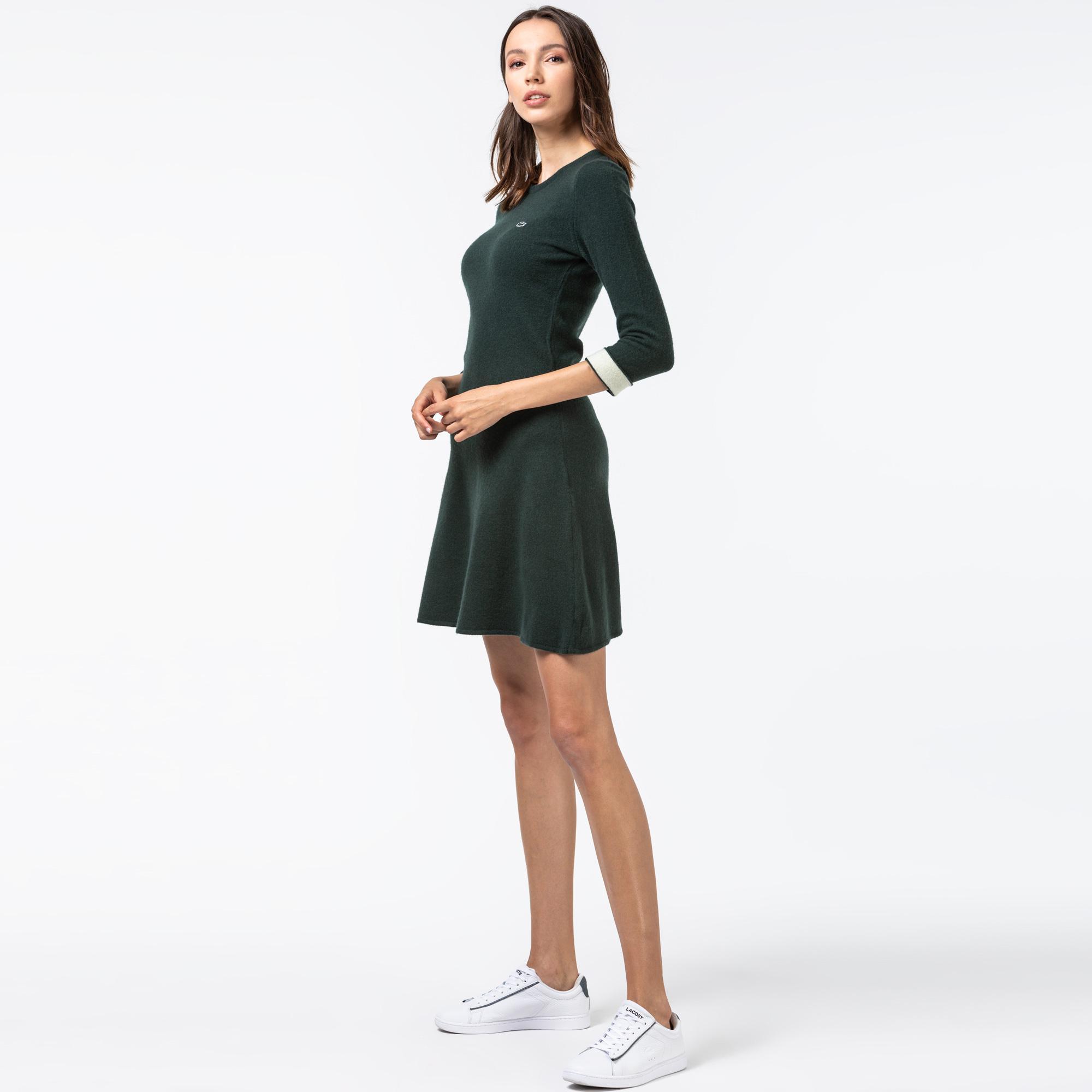 Lacoste Kadın Kaşmir Karışımlı Truvakar Kollu Yeşil Elbise
