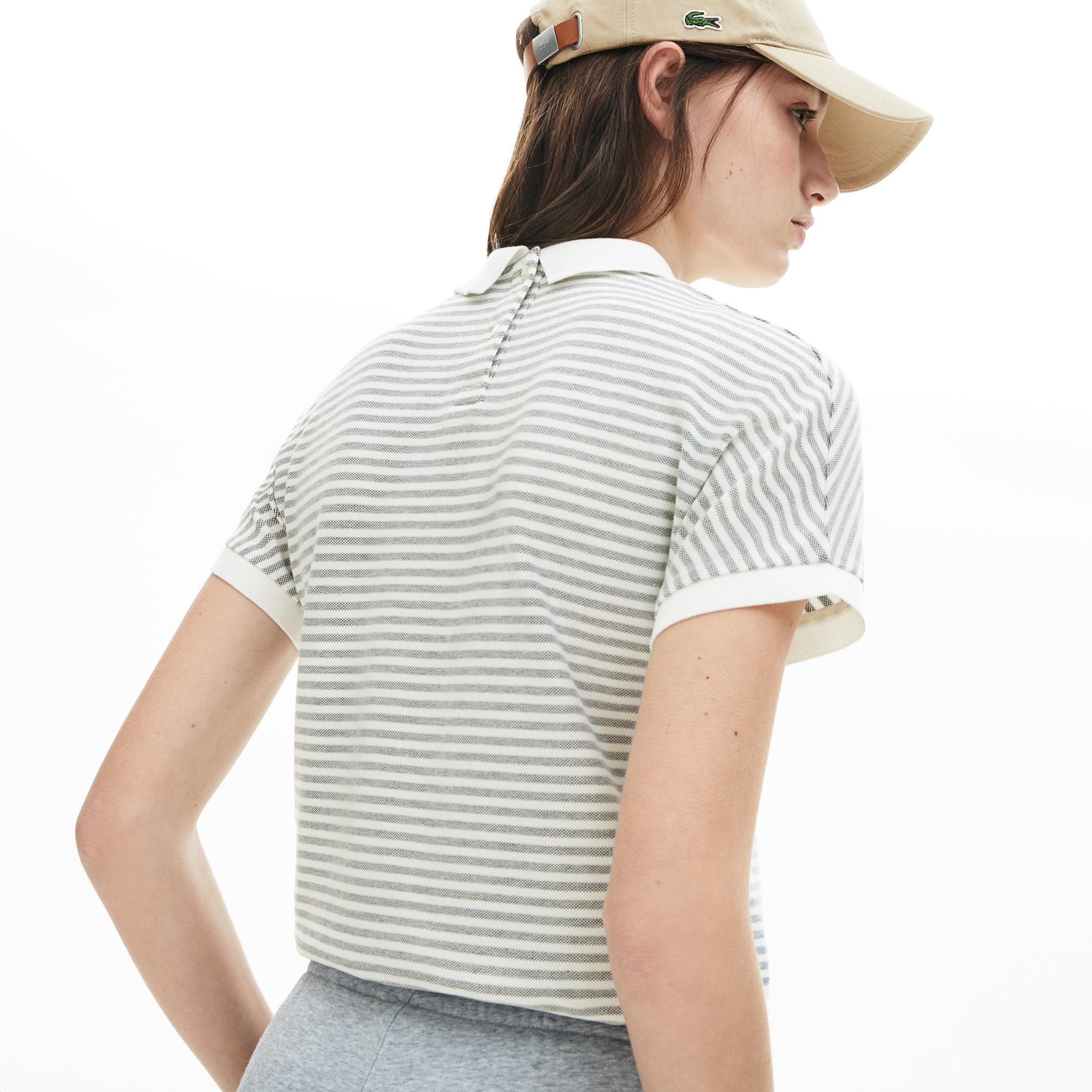 Lacoste Kadın Klasik Fit Bebe Yaka Çizgili Lacivert - Beyaz Polo
