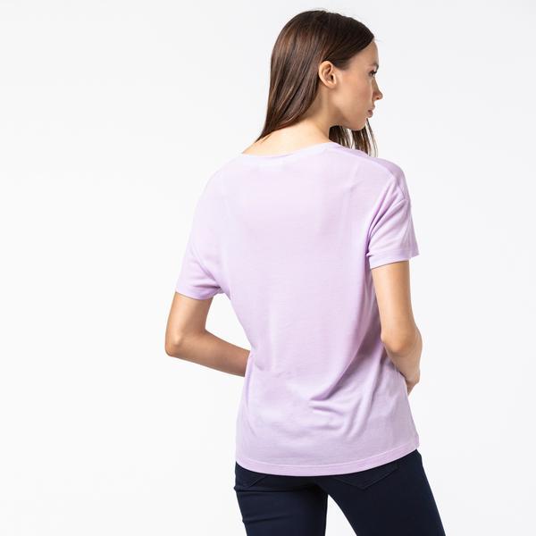 Lacoste Kadın Kayık Yaka Lila T-Shirt