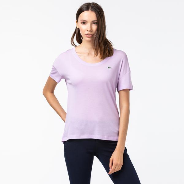 Lacoste Kadın Kayık Yaka Çizgili Lila T-Shirt