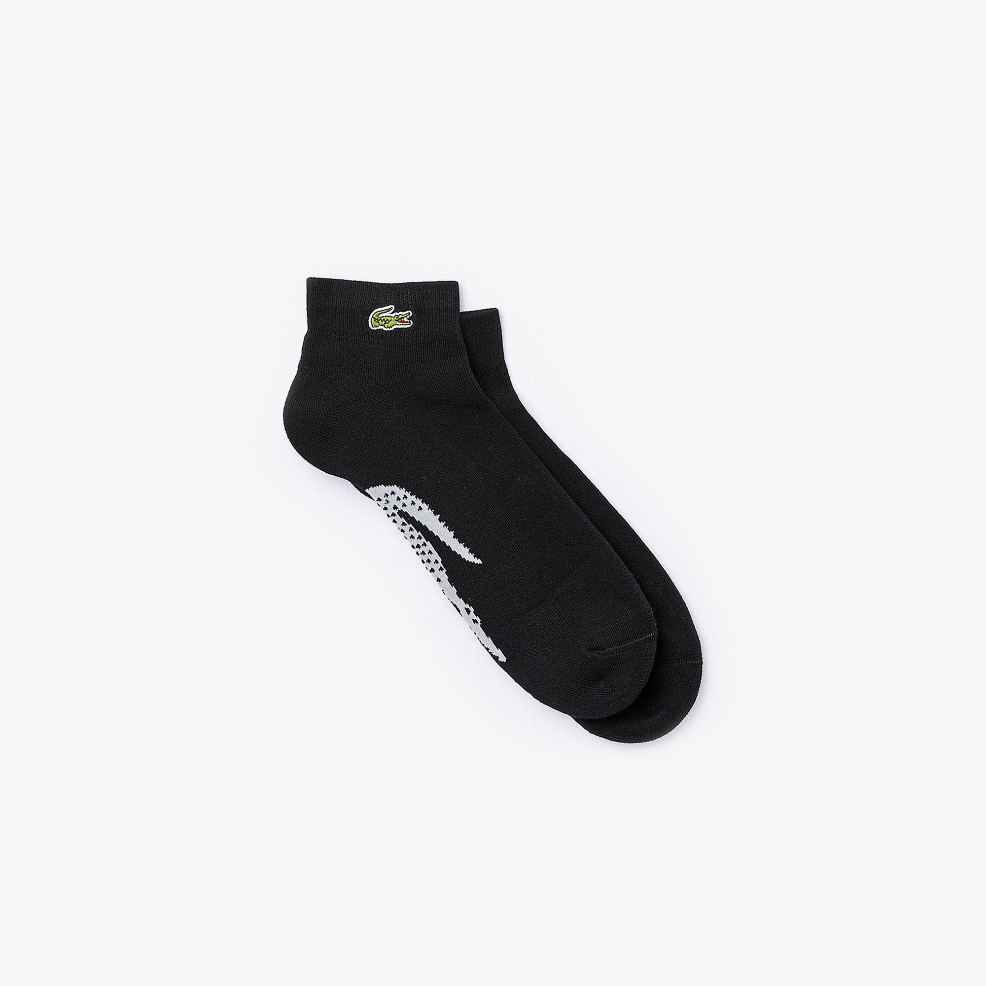 Lacoste Sport Erkek Timsah Baskılı Siyah Çorap
