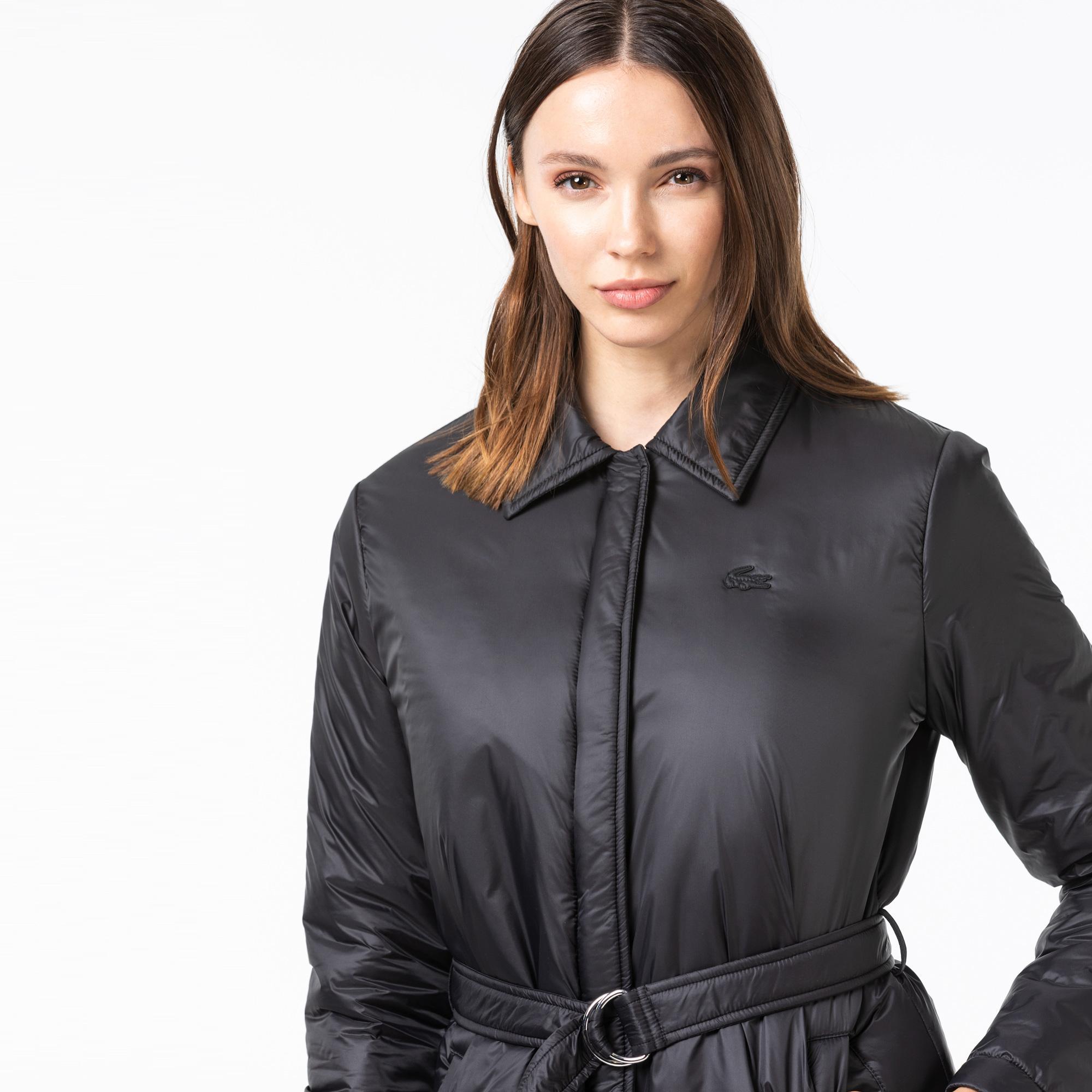 Lacoste Kadın Gömlek Yaka Siyah Mont