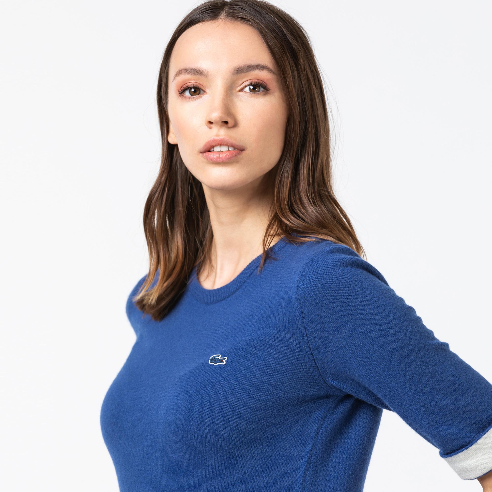 Lacoste Kadın Truvakar Kollu Kaşmir Karışımlı Lacivert Triko Kazak