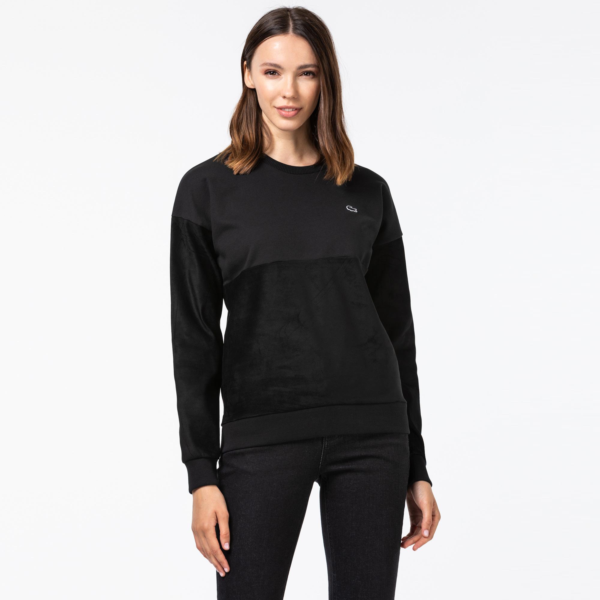 Lacoste Kadın Blok Desenli Bisiklet Yaka Siyah Sweatshirt