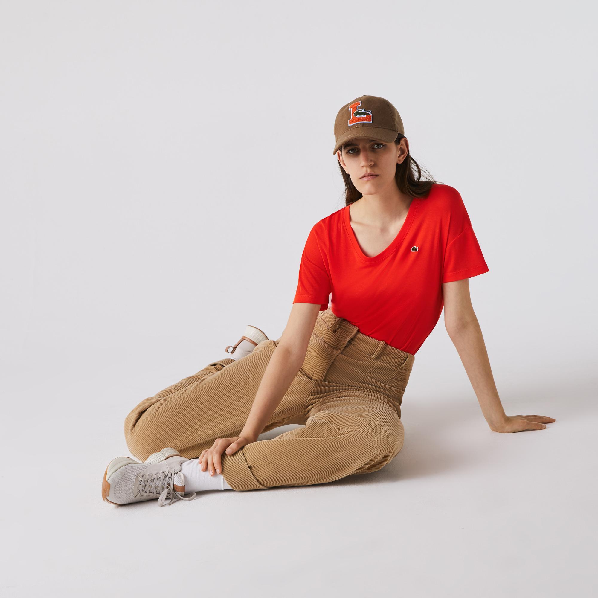 Lacoste Kadın Çizgili Kayık Yaka Kısa Kollu Turuncu T-Shirt