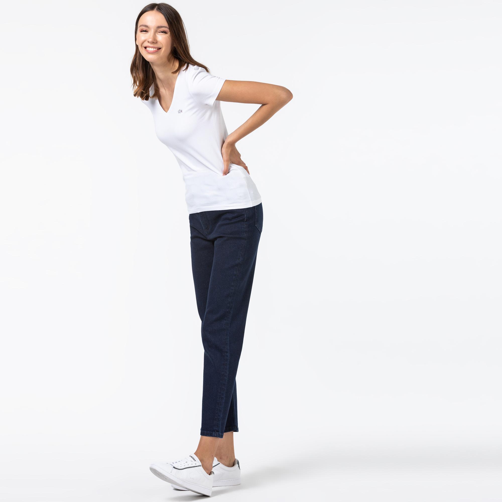 Lacoste Kadın Slim Fit Denim Lacivert Pantolon
