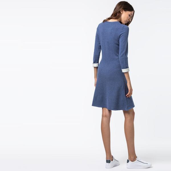 Lacoste Kadın Kaşmir Karışımlı Truvakar Kollu Mavi Elbise