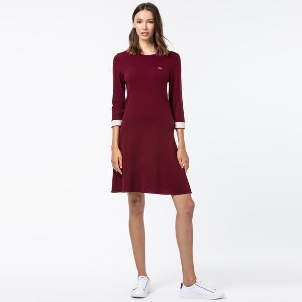 Lacoste Kadın Kaşmir Karışımlı Truvakar Kollu Bordo Elbise