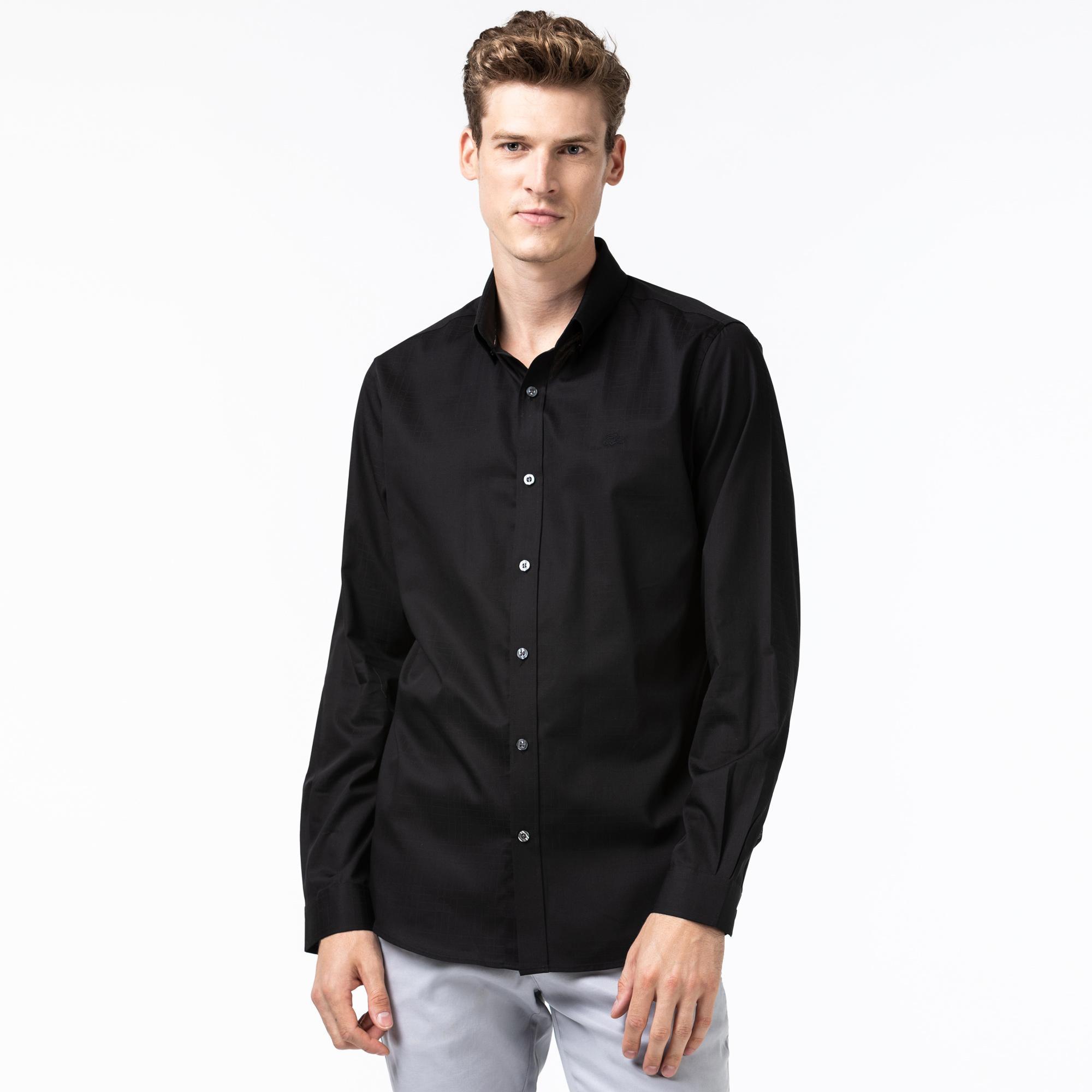 Lacoste Erkek Slim Fit Ekose Desenli Siyah Gömlek