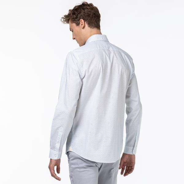 Lacoste Erkek Slim Fit Desenli Lacivert - Beyaz Gömlek