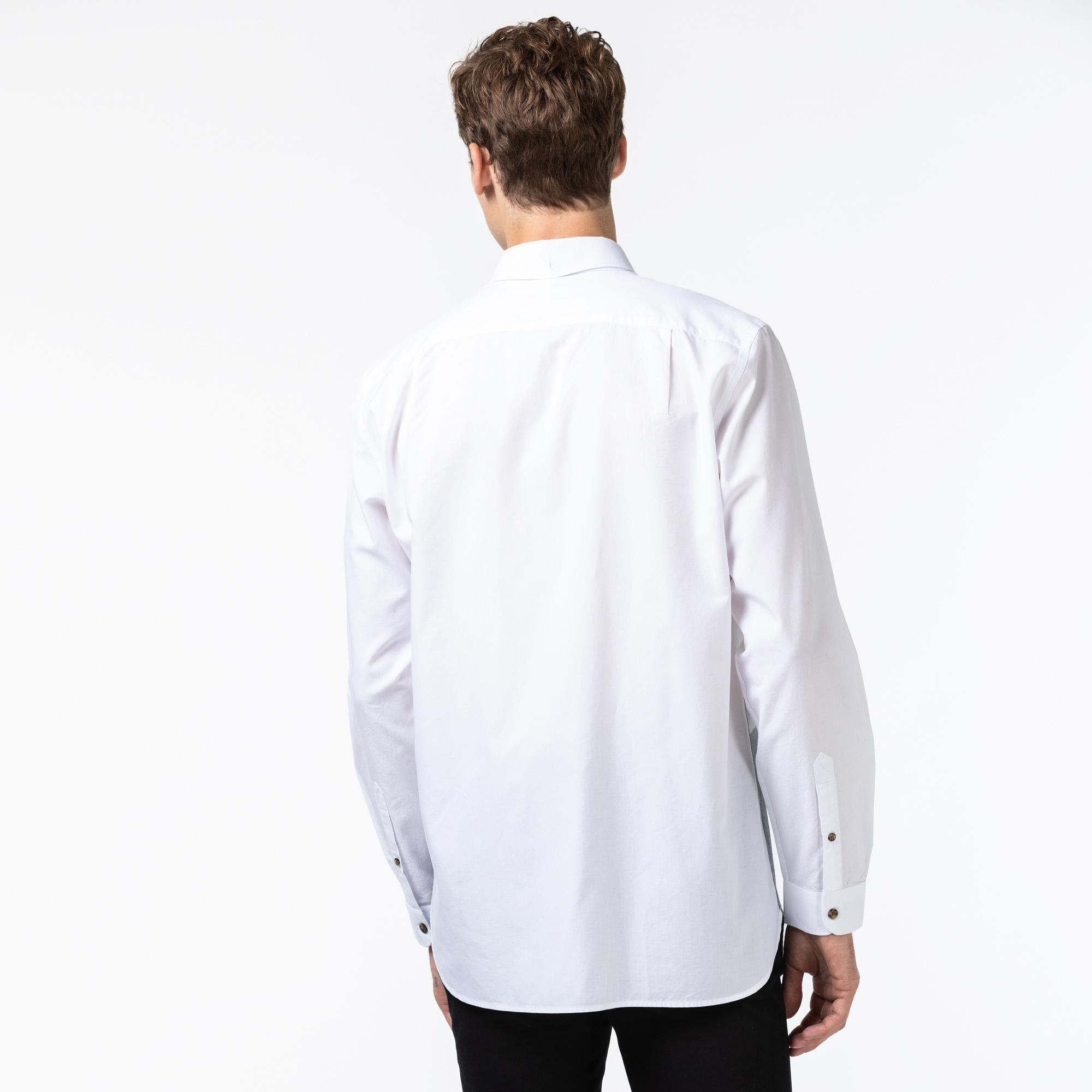 Lacoste Erkek Regular Fit Blok Desenli Beyaz Gömlek