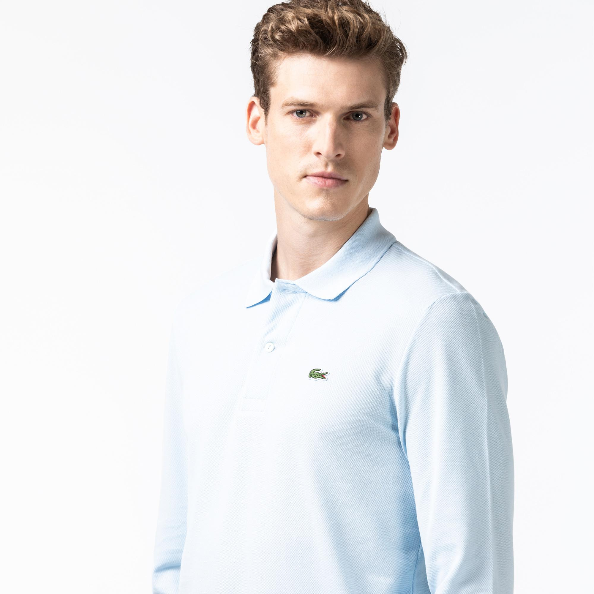 Lacoste Erkek Klasik Fit L1212 Uzun Kollu Açık Mavi Polo