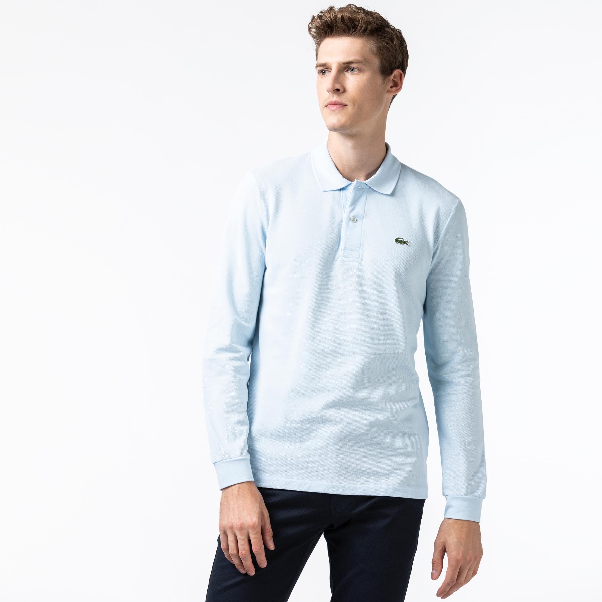 Lacoste Erkek Classic Fit Uzun Kollu Açık Mavi Polo