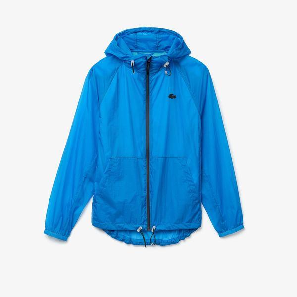 Lacoste Kadın Kapüşonlu Fermuarlı Mavi Rüzgarlık / Ceket