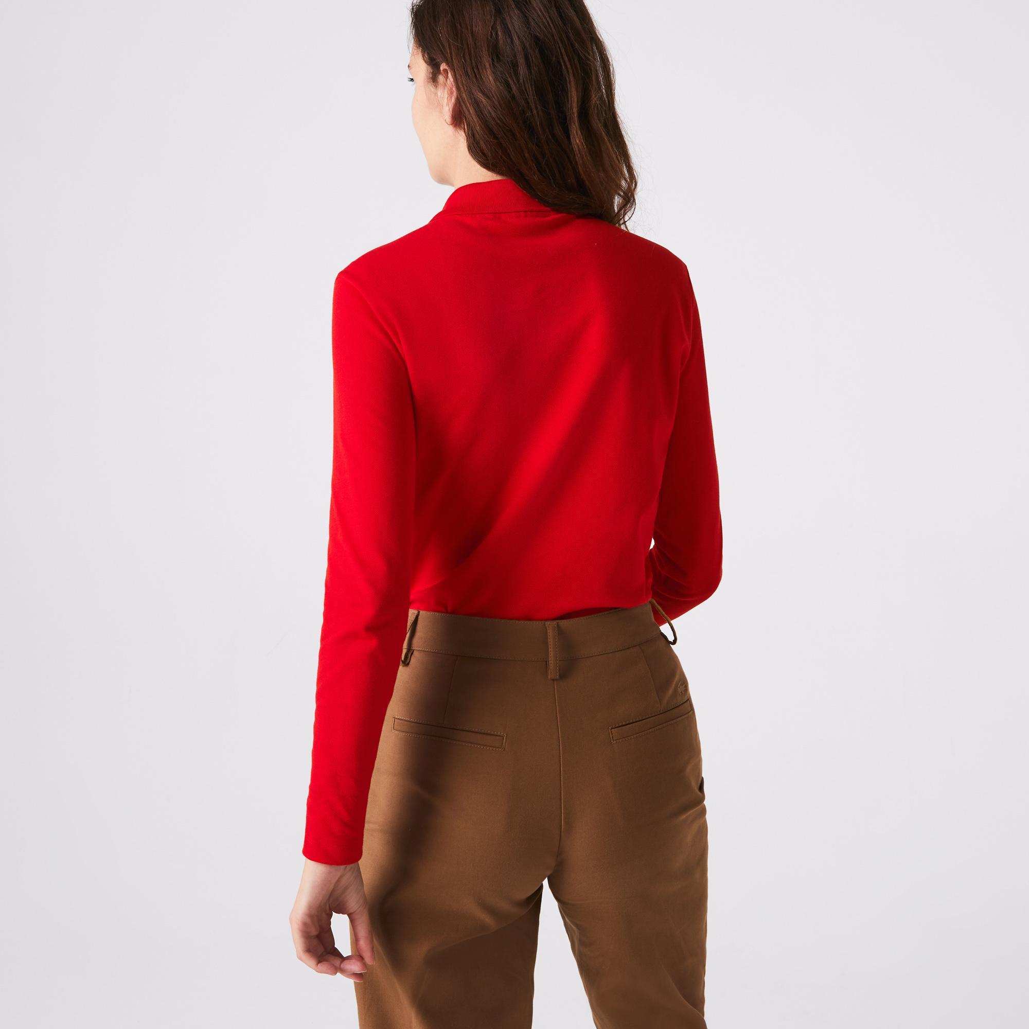 Lacoste Kadın Slim Fit Uzun Kollu Kırmızı Polo