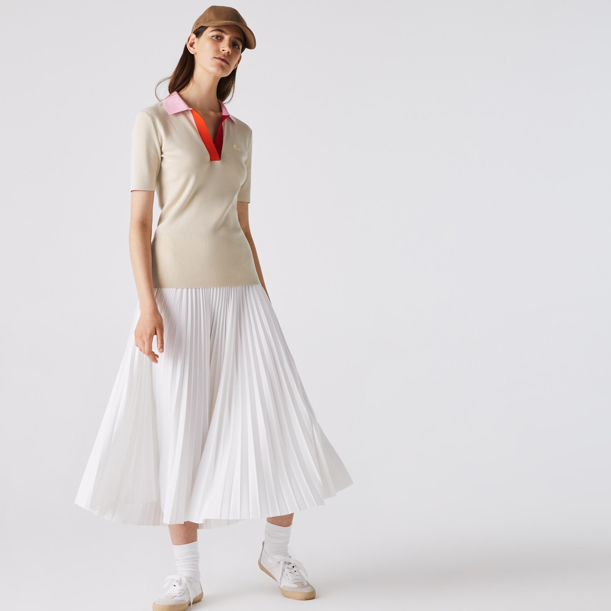 Lacoste Kadın Blok Desenli Polo Yaka Yarım Kollu Slim Fit Bej Triko