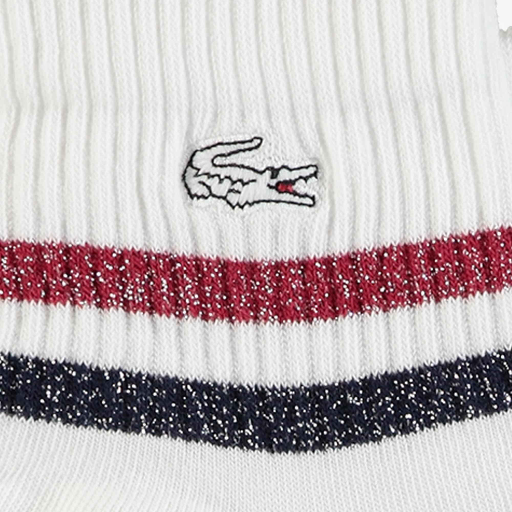 Lacoste Kadın Trainer Çizgili Beyaz Çorap