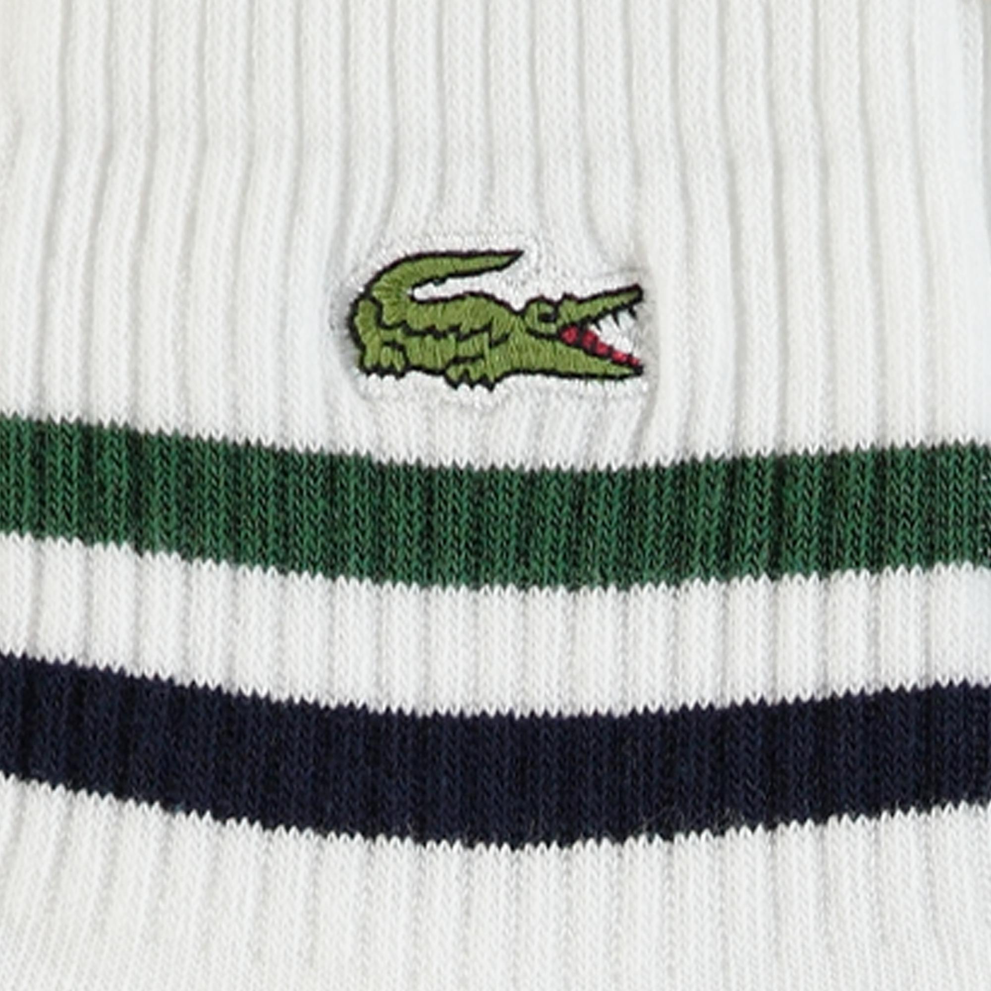 Lacoste Unisex Çizgili Kısa Beyaz Çorap