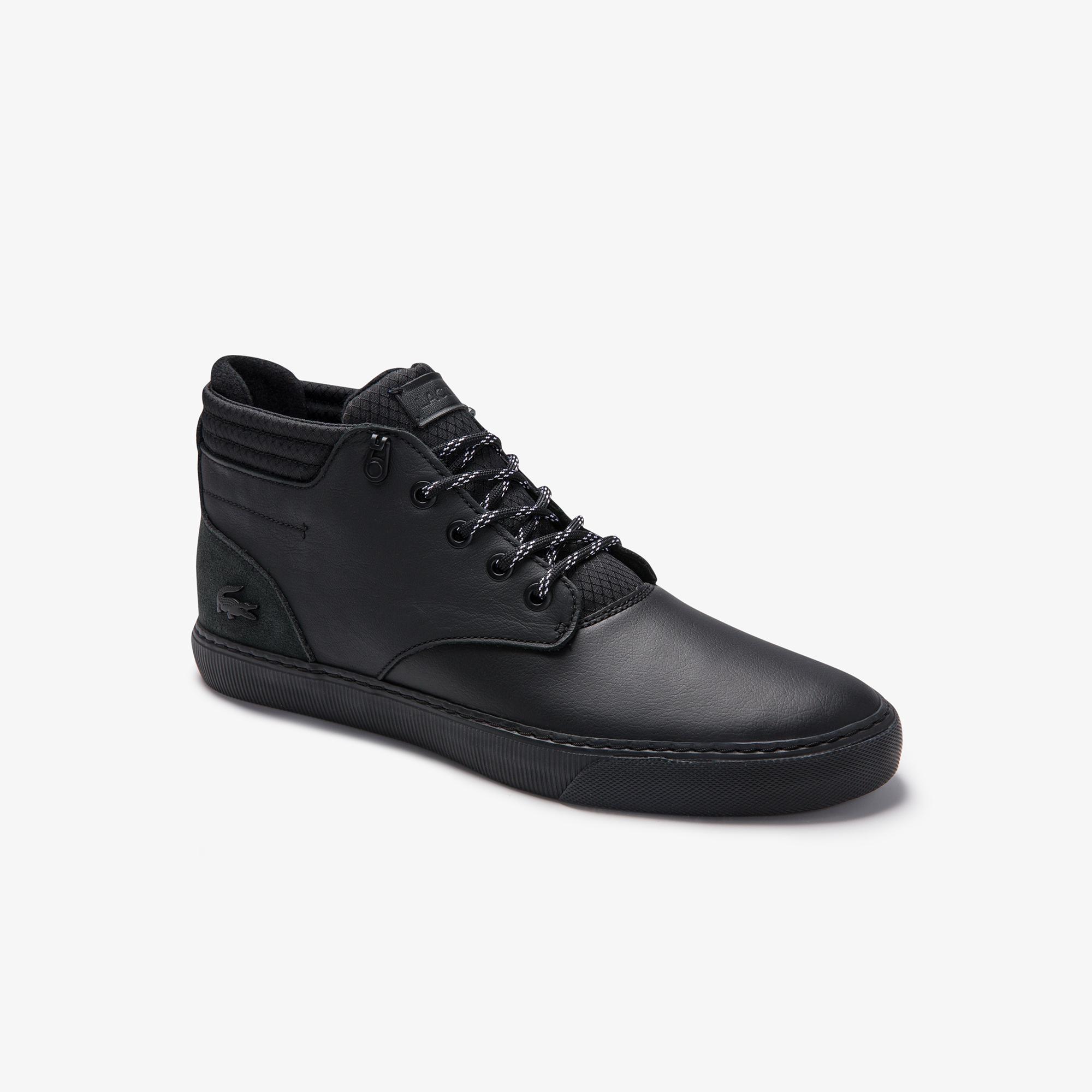 Lacoste Esparre Chukka 0320 1 Cma Erkek Deri Siyah Mid Ayakkabı
