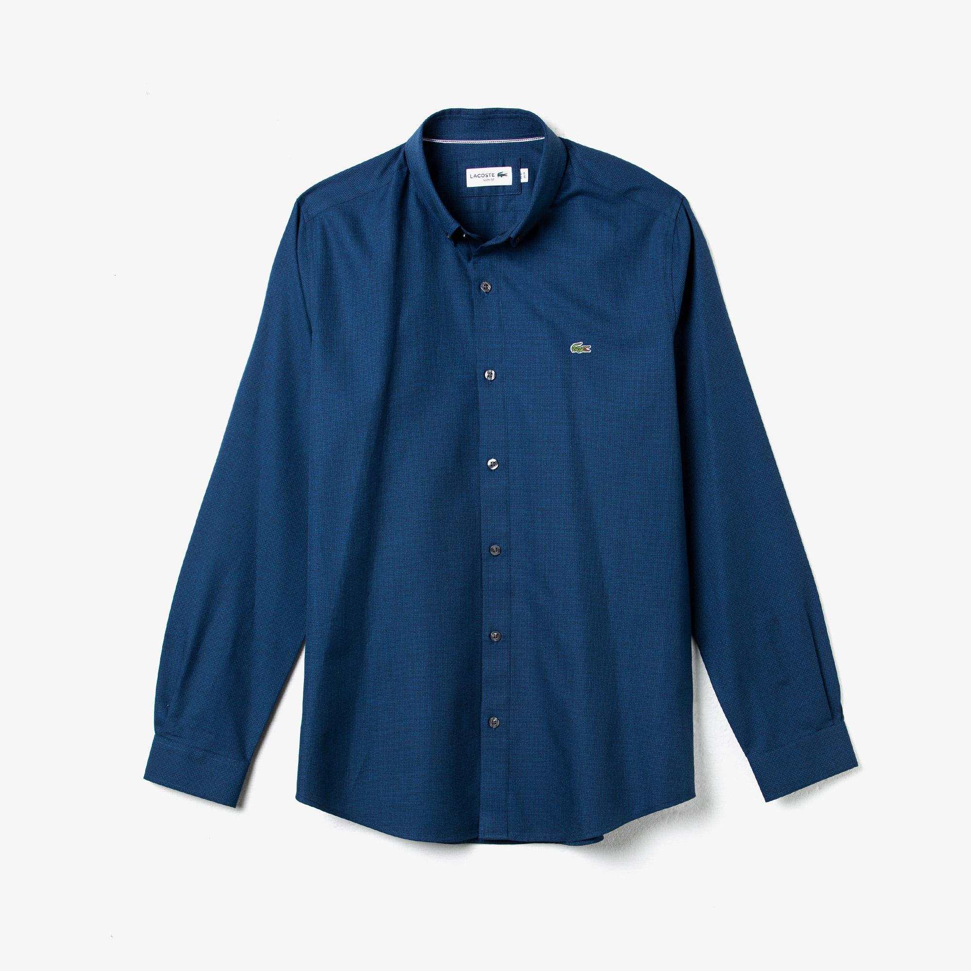 Lacoste Erkek Slim Fit Desenli Düğmeli Yaka Mavi Gömlek