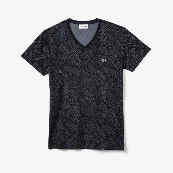Lacoste Erkek Desenli V Yaka Siyah T-Shirt
