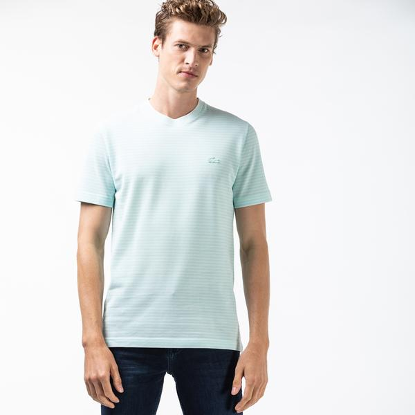 Lacoste Erkek Bisiklet Yaka Çizgili Açık Mavi T-Shirt