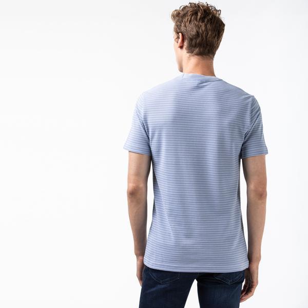Lacoste Erkek Bisiklet Yaka Çizgili Mavi T-Shirt