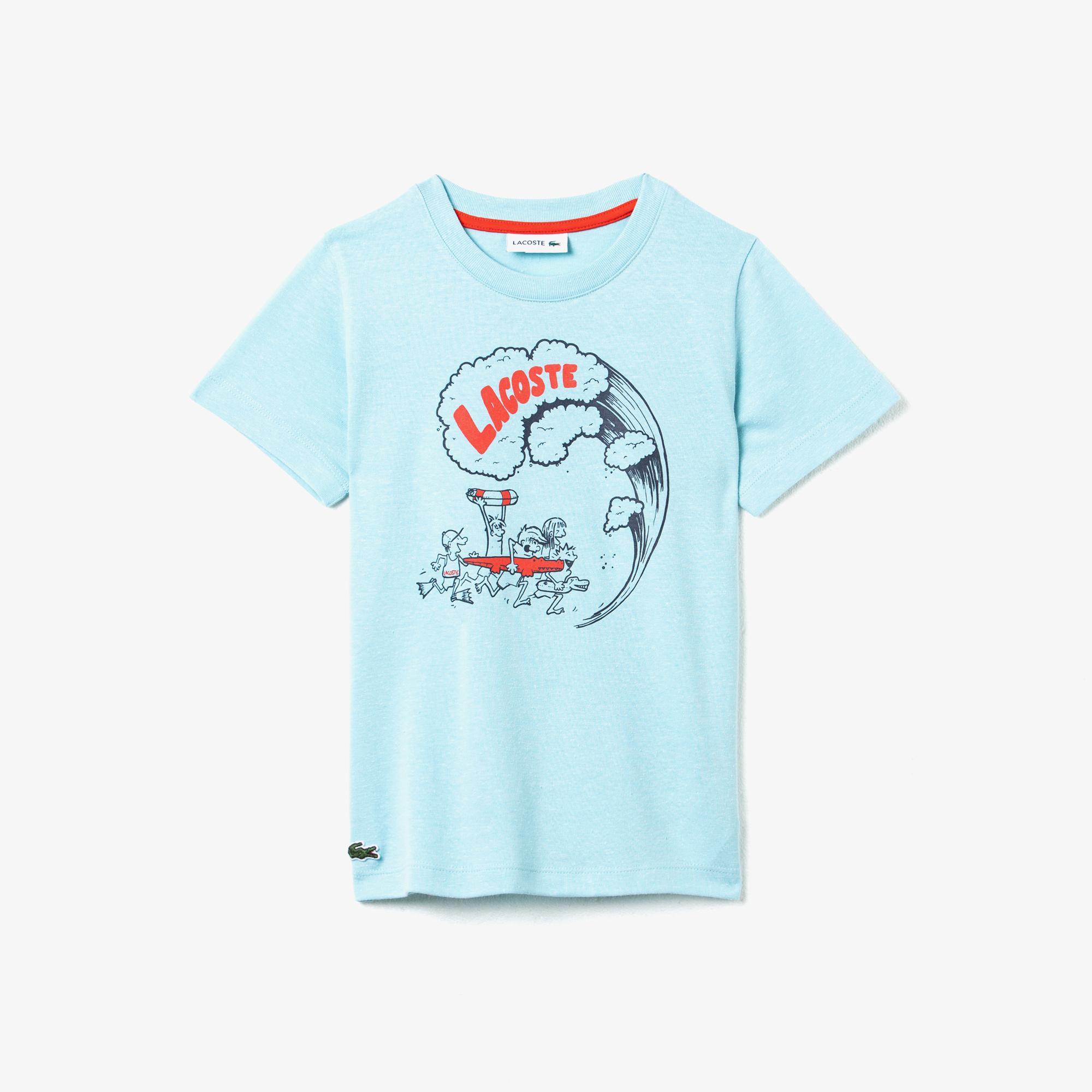 Lacoste Çocuk Bisiklet Yaka Baskılı Açık Mavi T-Shirt