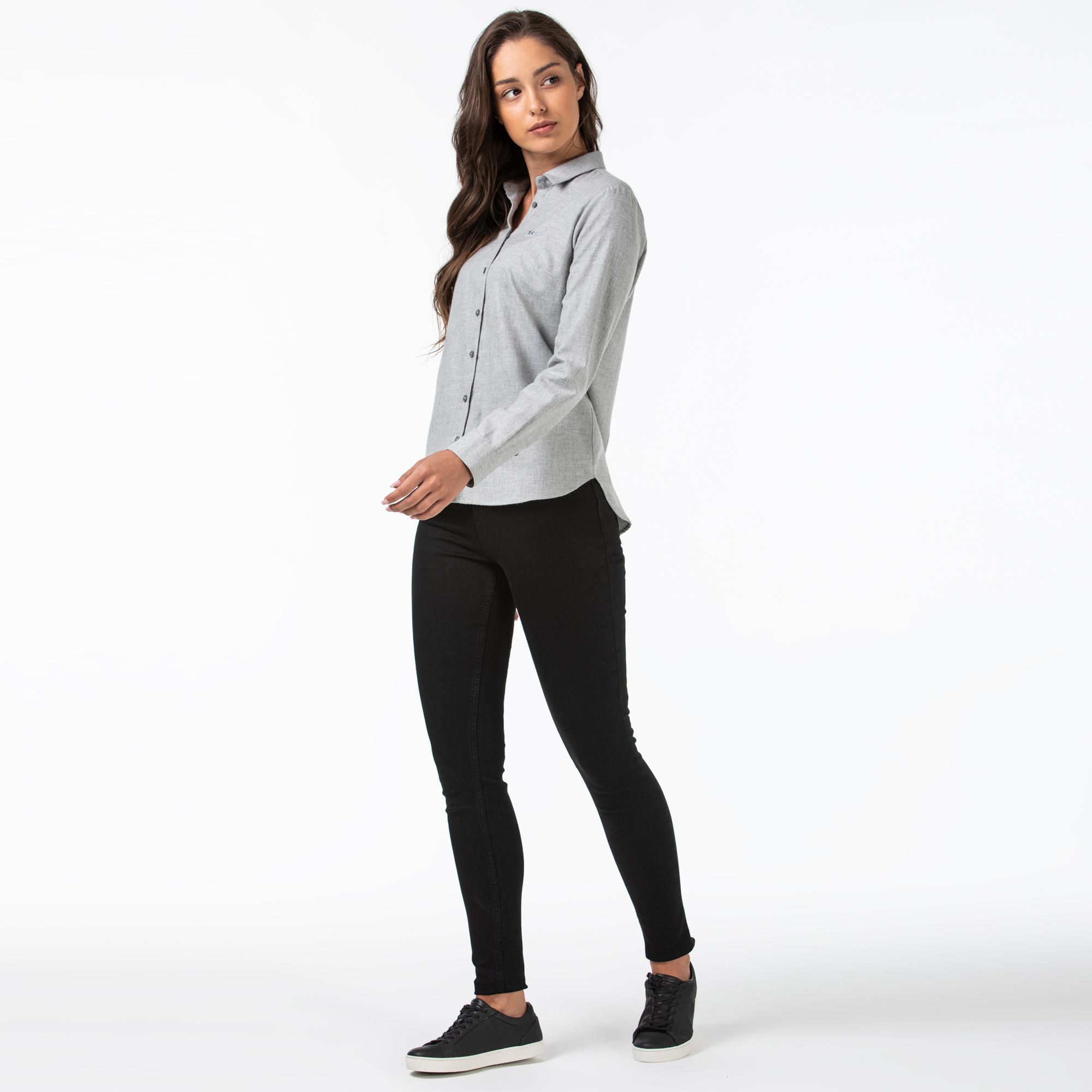 Lacoste Kadın Slim Fit Denim Siyah Pantolon