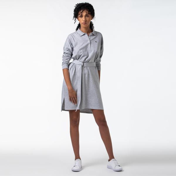 Lacoste Kadın Polo Yaka Uzun Kollu Gri Elbise