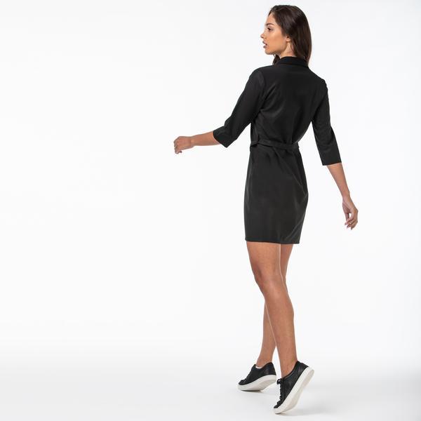 Lacoste Kadın Gömlek Yaka Siyah Elbise