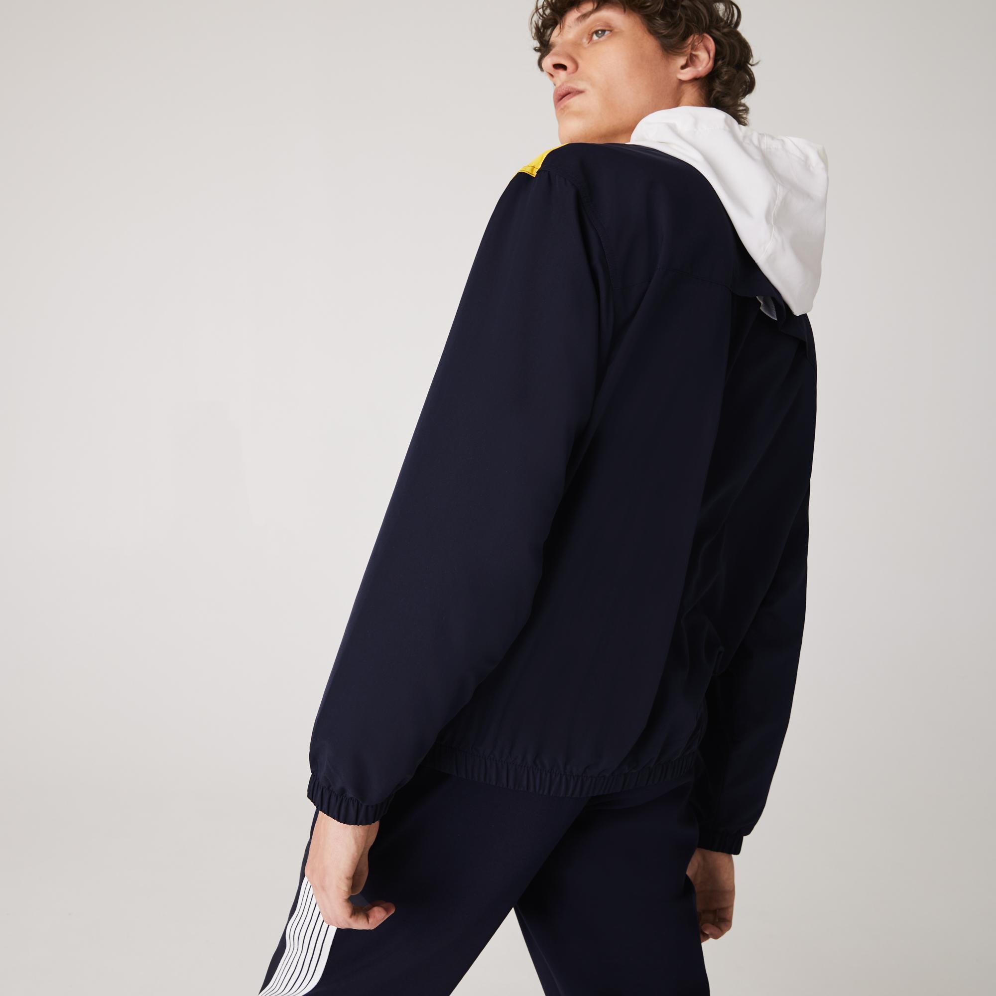 Lacoste Erkek Blok Desenli Kapüşonlu Renkli Ceket