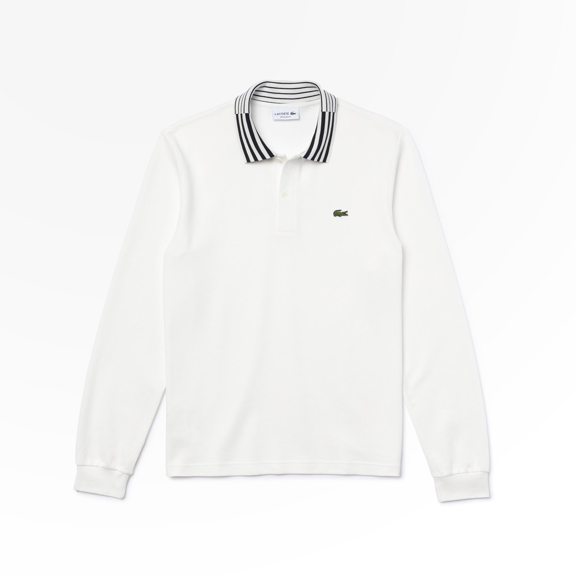 Lacoste Erkek Regular Fit Uzun Kollu Çizgili Yaka Beyaz Polo