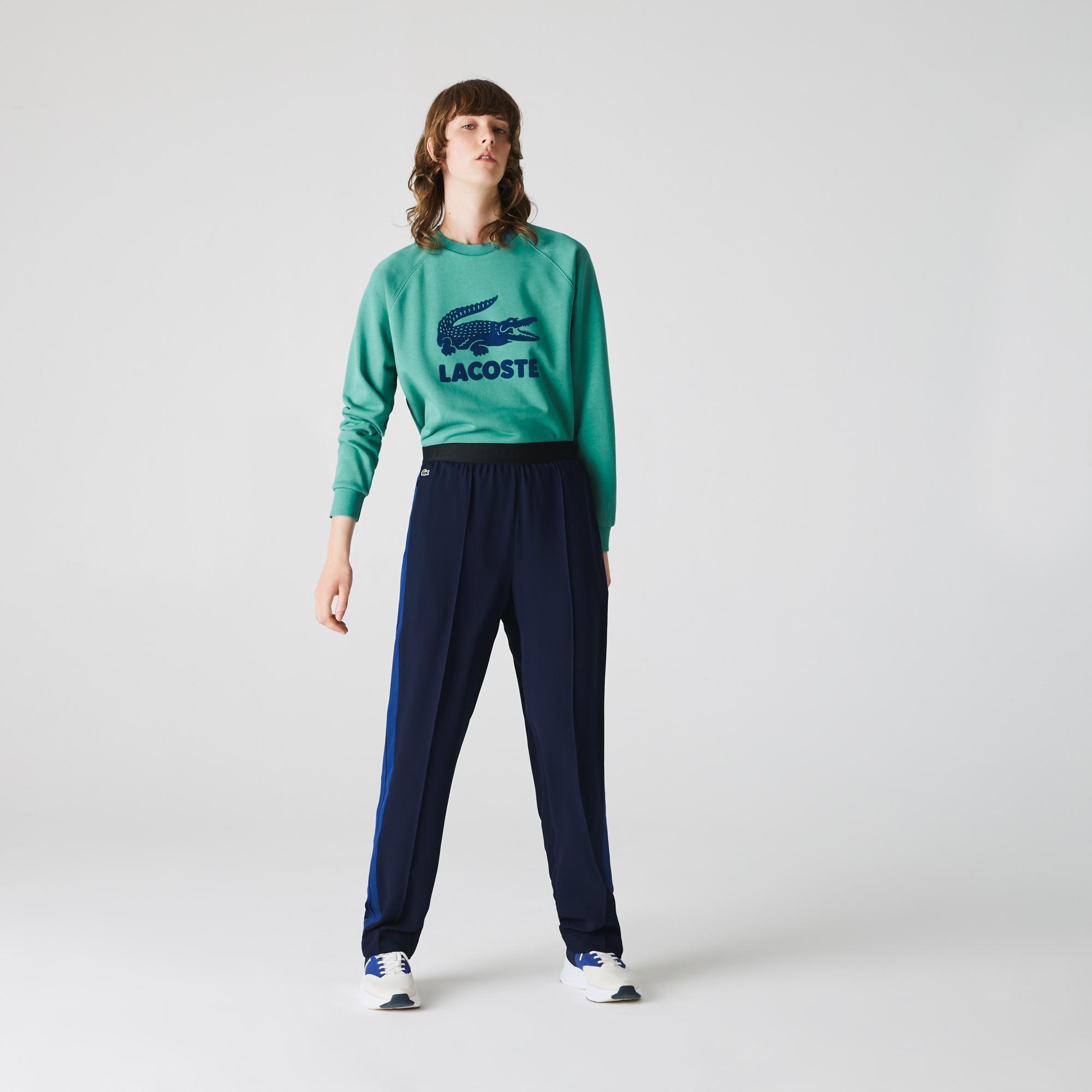 Lacoste Kadın Timsah Baskılı Bisiklet Yaka Yeşil Sweatshirt