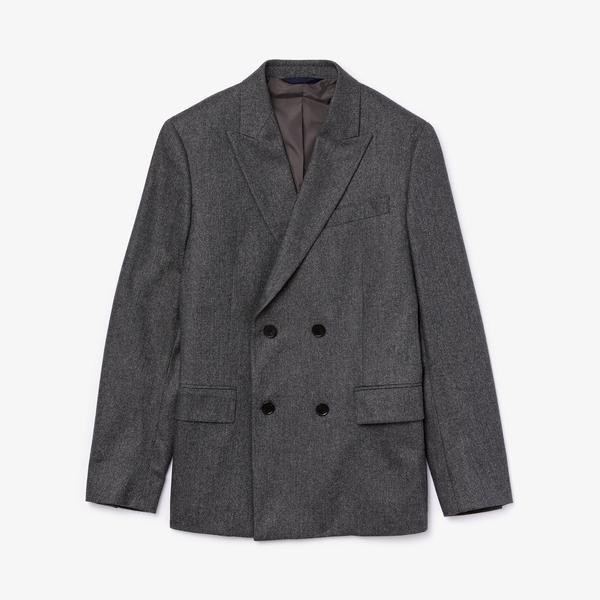 Lacoste Erkek Kruvaze Yün ve Kaşmir Karışımlı Gri Ceket