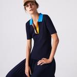 Lacoste Kadın Blok Desenli Polo Yaka Yarım Kollu Slim Fit Lacivert Triko