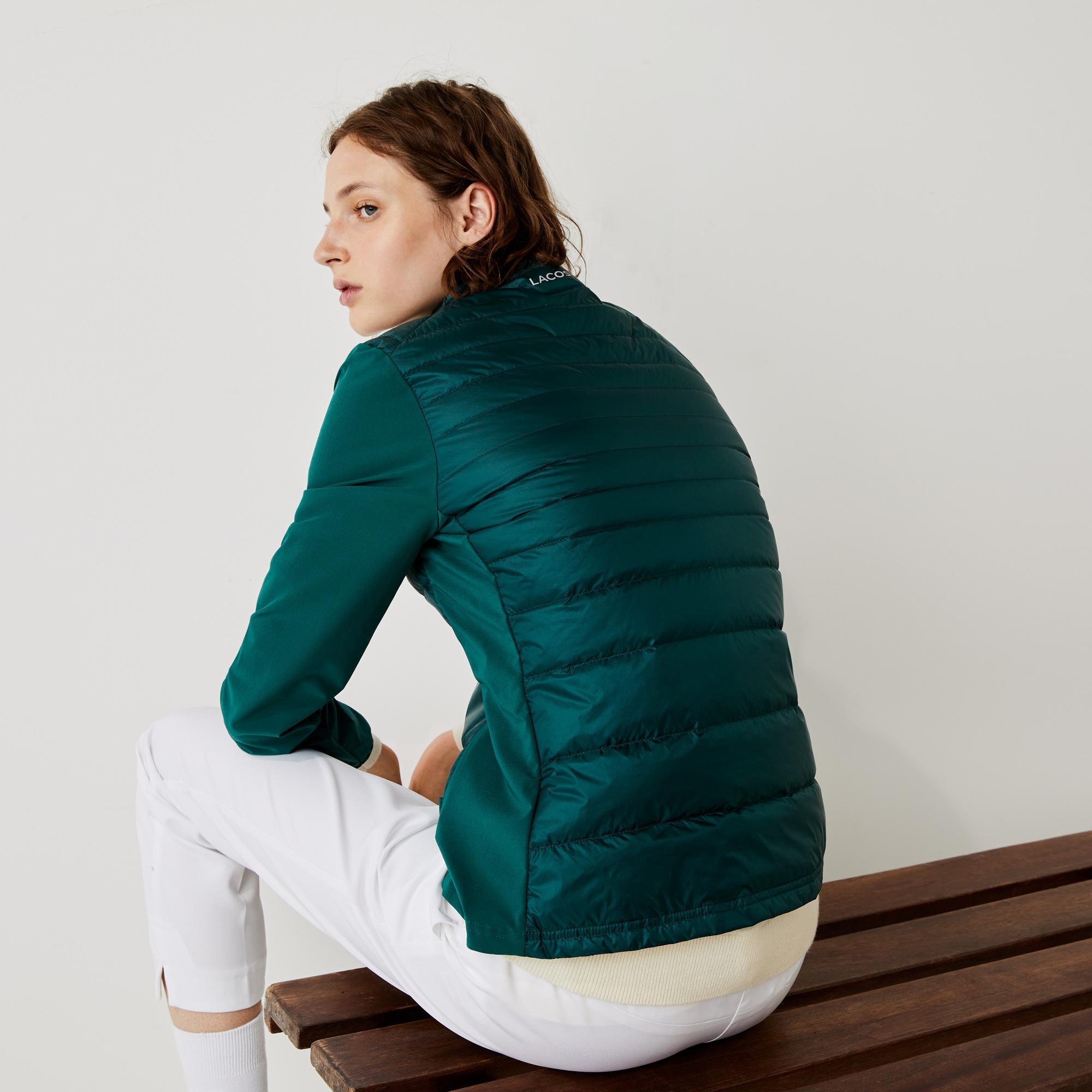 Lacoste Sport Kadın Kapitone Dik Yaka Suya Dayanıklı Yeşil Ceket