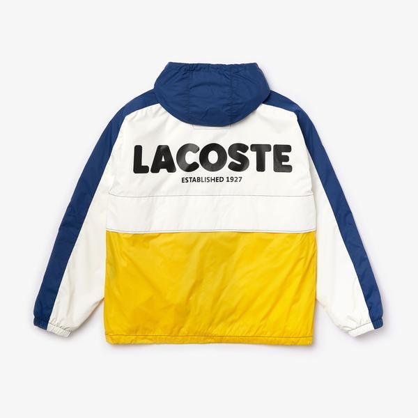 Lacoste L!VE Unisex Blok Desenli Kapüşonlu Renkli Rüzgarlık