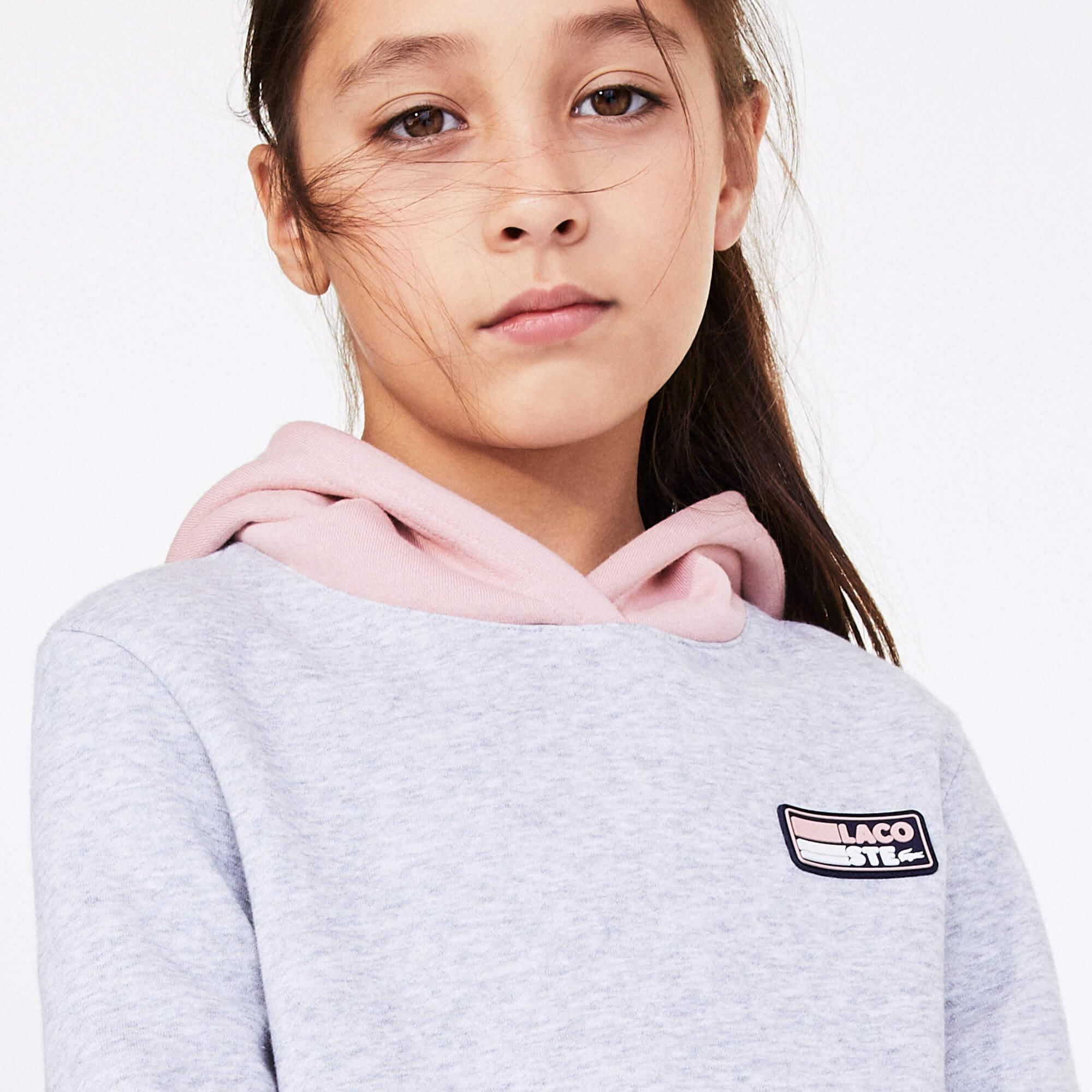 Lacoste Sport Çocuk Kapüşonlu Uzun Kollu Gri Elbise