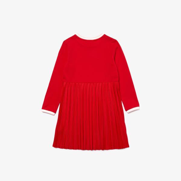 Lacoste Çocuk Bisiklet Yaka Uzun Kollu Pileli Kırmızı Elbise
