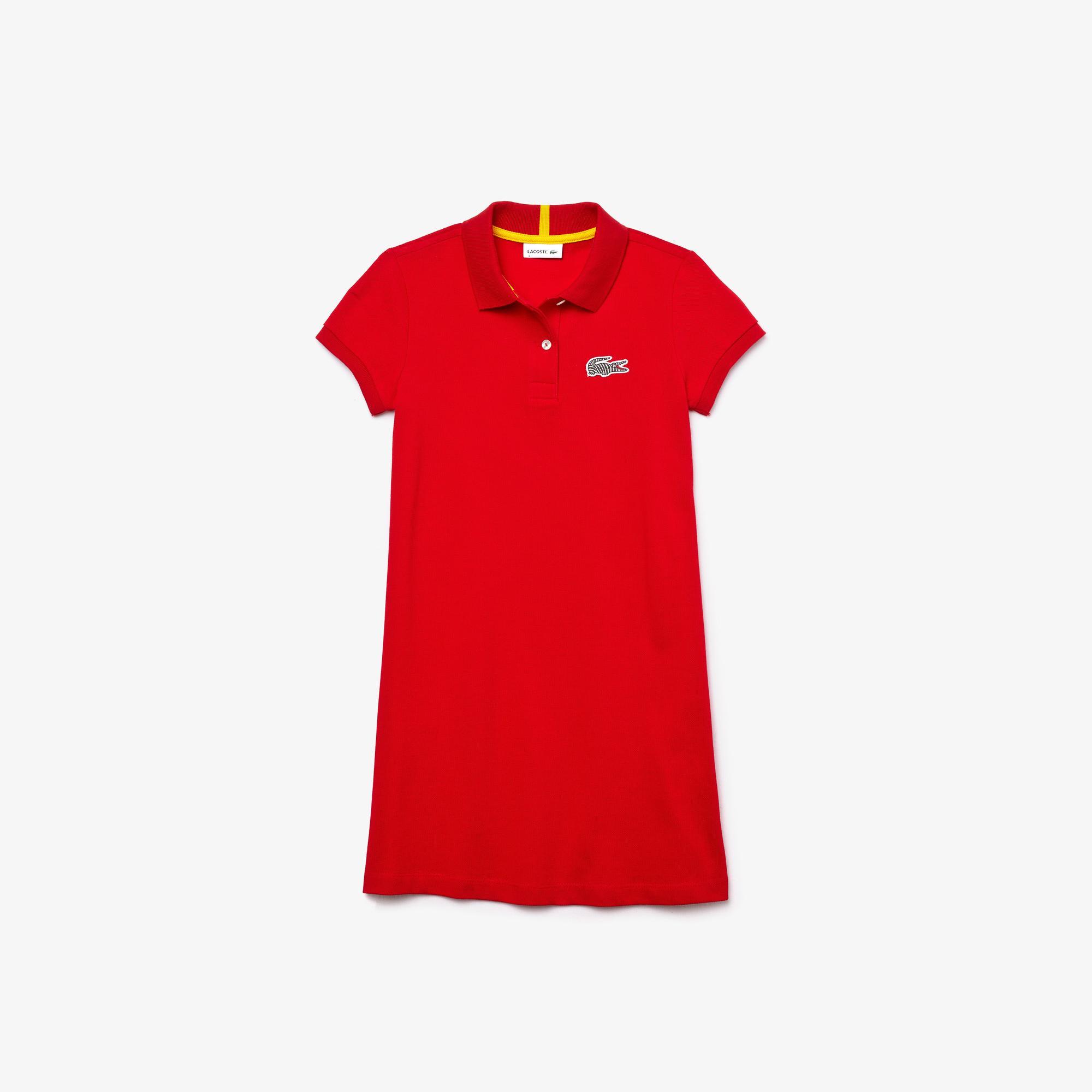 Lacoste x National Geographic Çocuk Polo Yaka Kısa Kollu Kırmızı Elbise