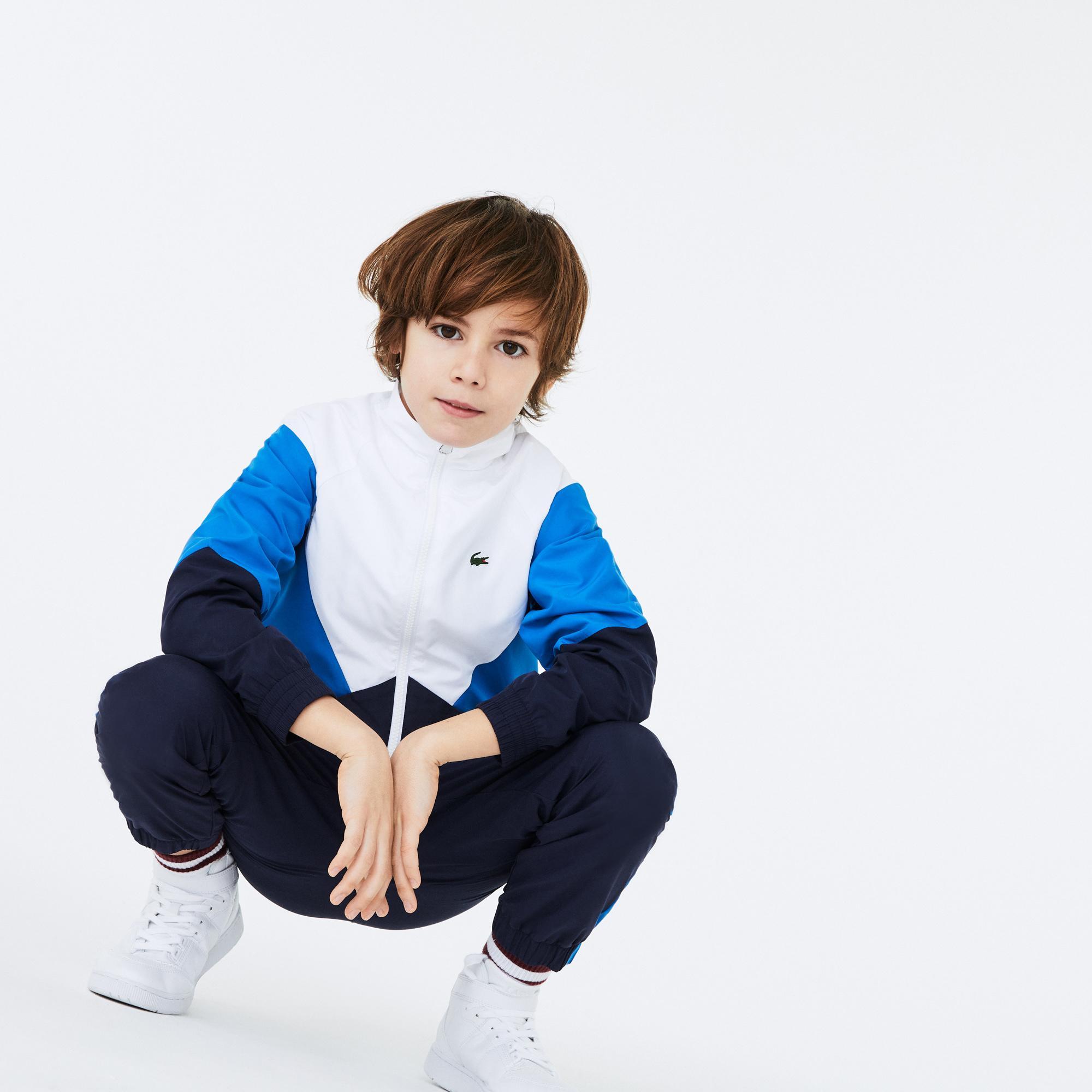 Lacoste Sport Çocuk Blok Desenli Fermuarlı Uzun Kollu Renkli Eşofman Takımı