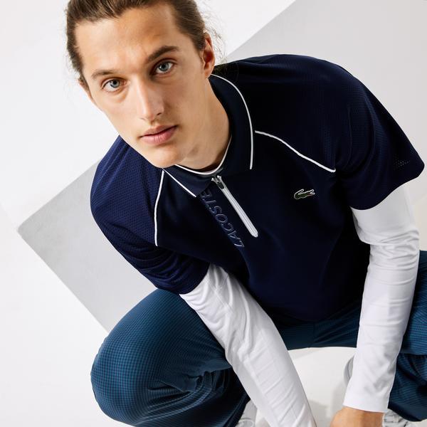 Lacoste Sport Fermuarlı Yaka Baskılı Erkek Lacivert Polo