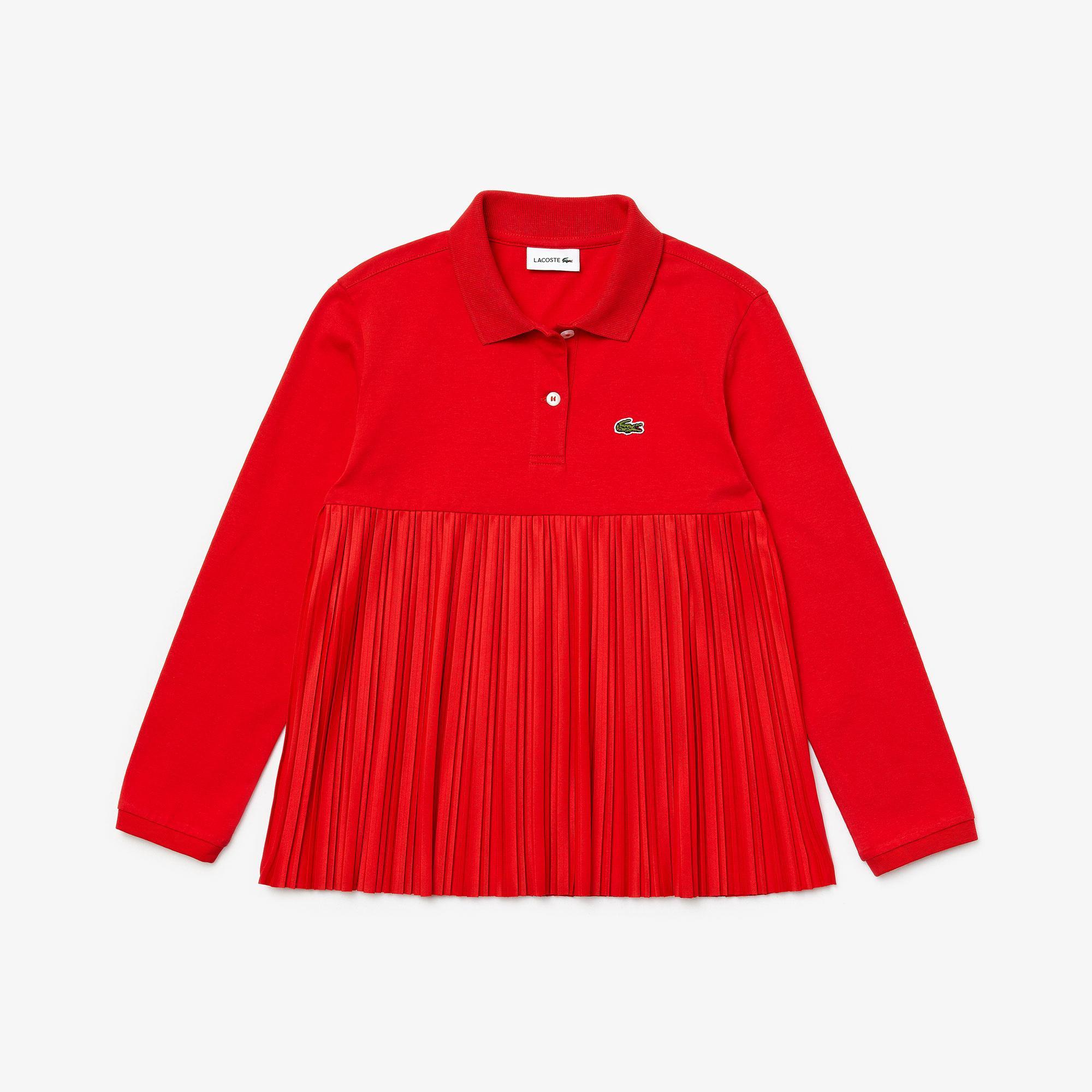 Lacoste Çocuk Uzun Kollu Pileli Kırmızı Polo