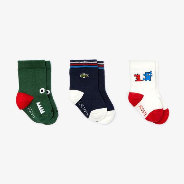 Lacoste Bebek Desenli Kısa Renkli 3'Lü Çorap