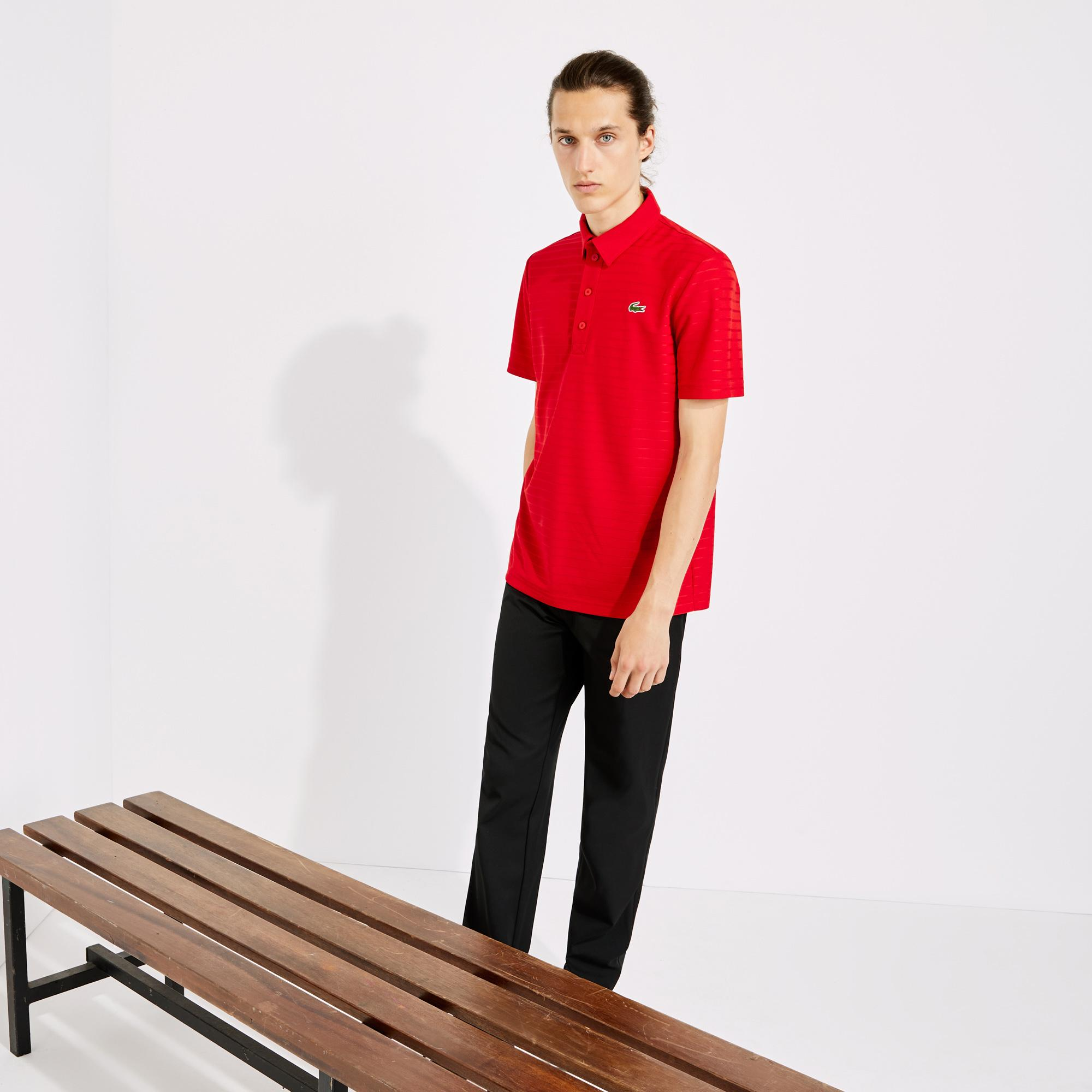 Lacoste Sport Erkek Çizgili Kırmızı Polo
