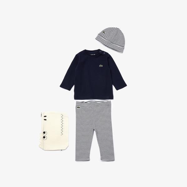 Lacoste Çocuk Çizgili Polo Yaka Uzun Kollu Lacivert - Beyaz Pijama