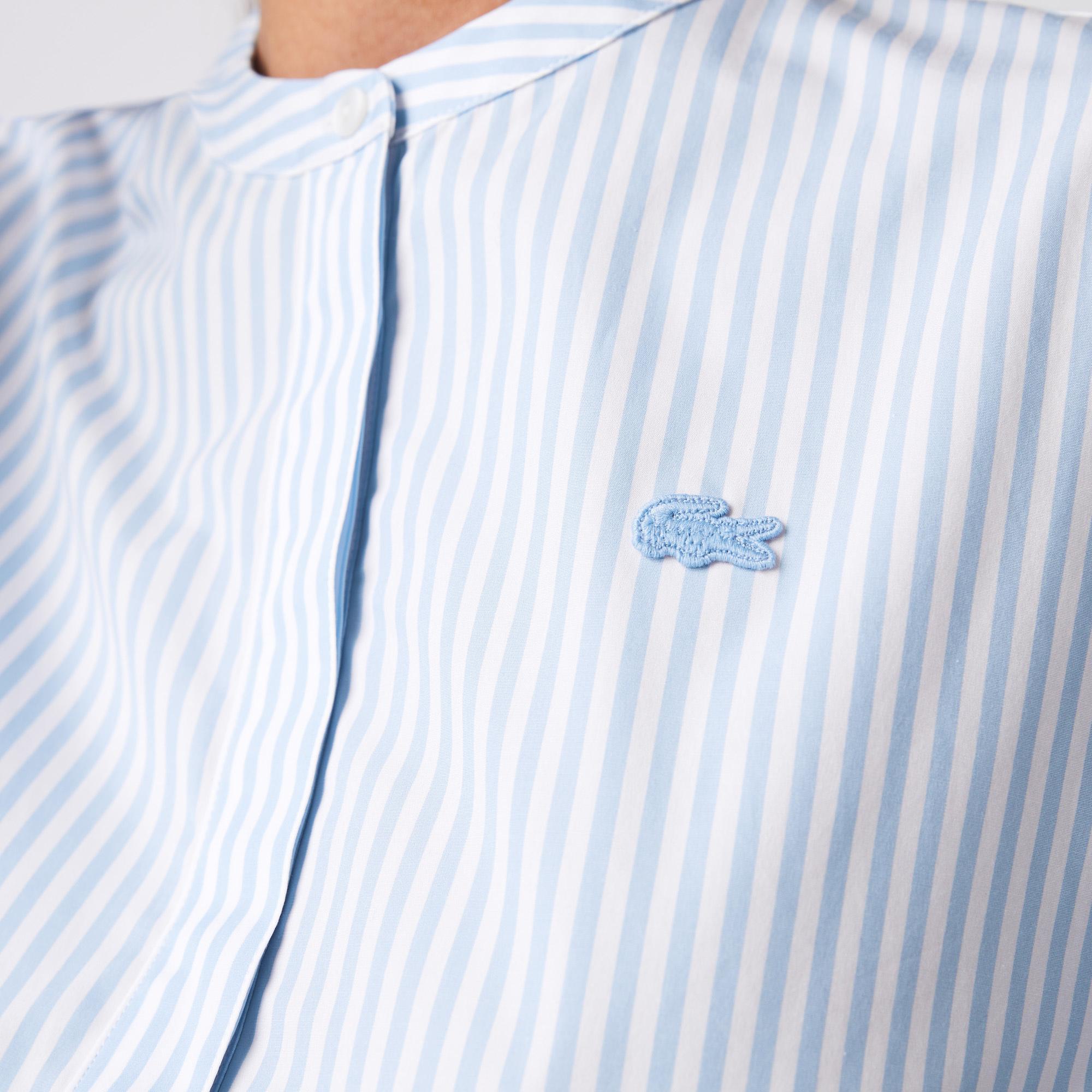 Lacoste Kadın Çizgili Hakim Yaka Mavi Gömlek