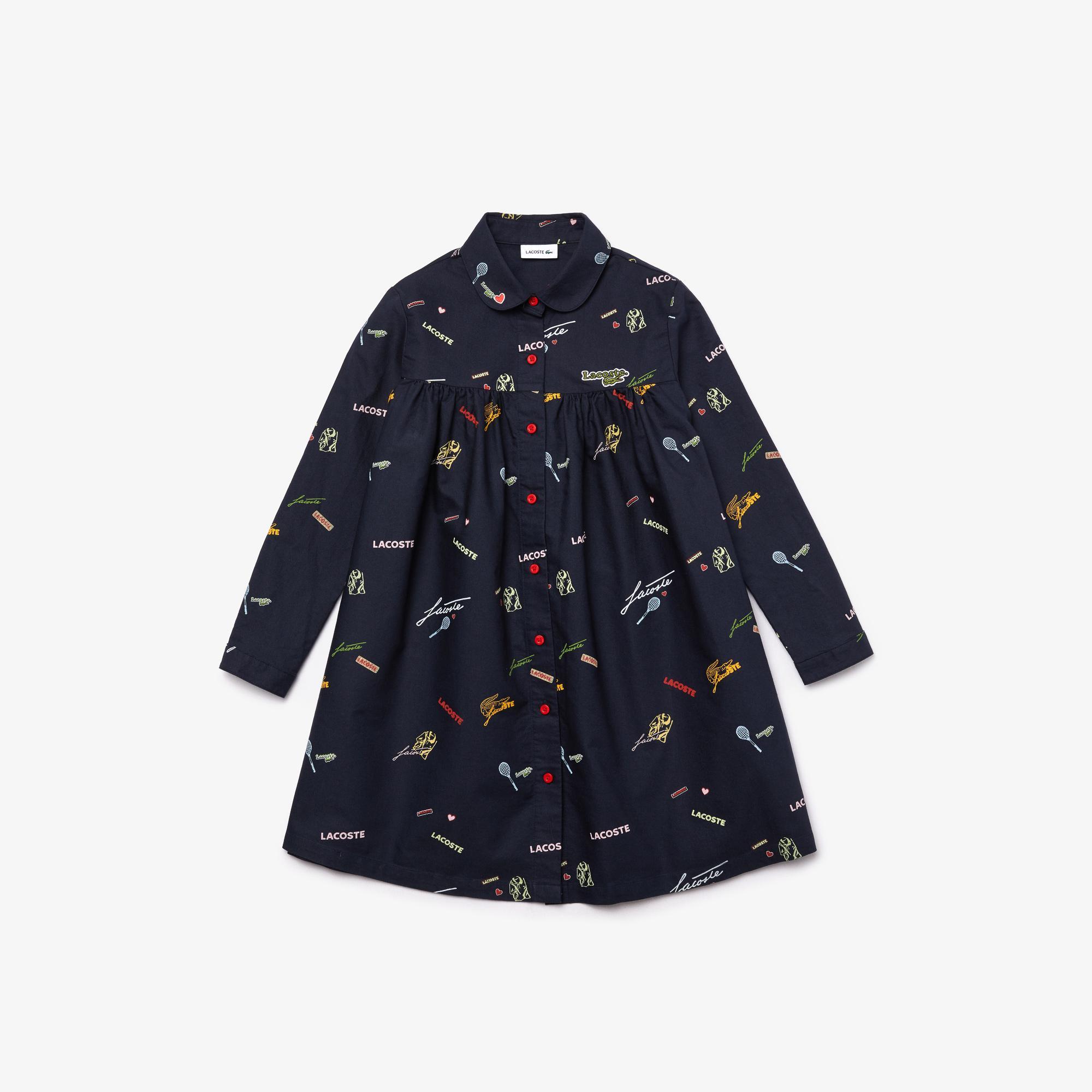 Lacoste Çocuk Baskılı Gömlek Yaka Uzun Kollu Renkli Elbise
